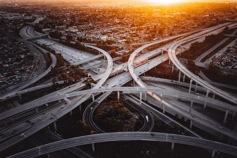 A nearly traffic-free interchange in Los Angeles