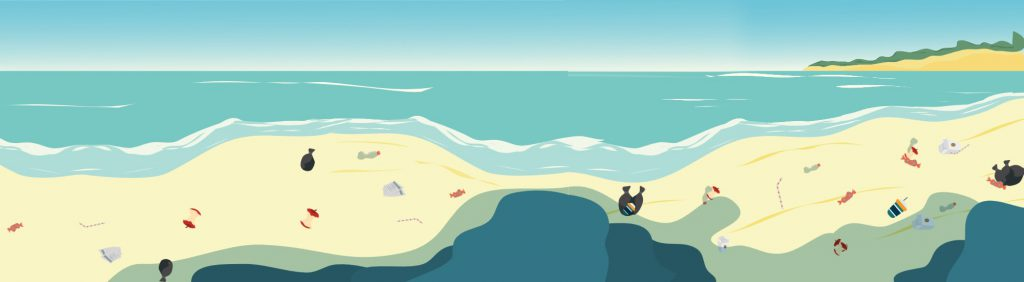 Single-use plastics spread on a beach