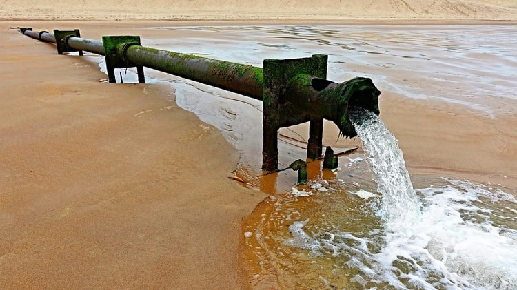 Treated wastewater poring back into the sea