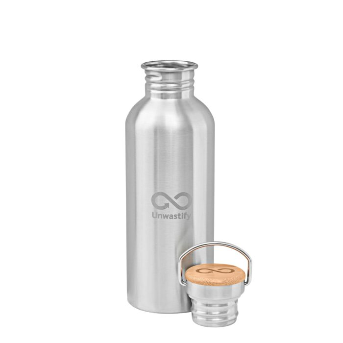 Unwastify stainless steel bottle 1000 ml with cap on the side