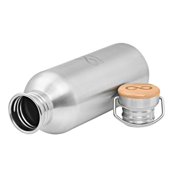 Unwastify stainless steel bottle 1000 ml lying with cap on the side