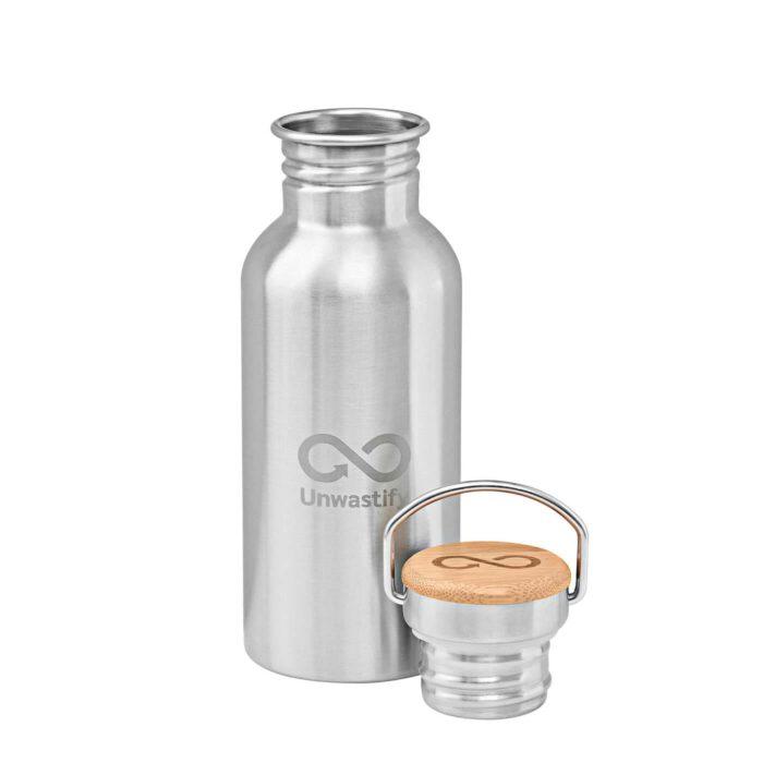 Edelstahlflasche 500 ml Vorderseite und Deckel