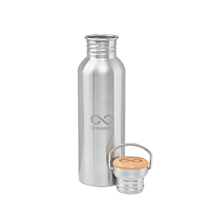 Edelstahlflasche 750 ml Vorderseite und Deckel